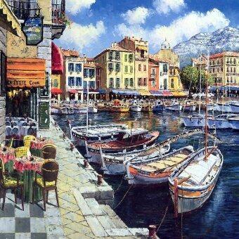 Tree Life ภาพพิมพ์กรอบลอย รุ่นภาพมีกรอบวาดสีอะคริลิคภาพวิวเรือเมืองเวนิส_ab023 Size 40 x 40 cm