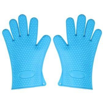 Lek and Love ถุงมือซิลิโคนกันความร้อนแบบ 5 นิ้ว 1 คู่ (สีฟ้า)