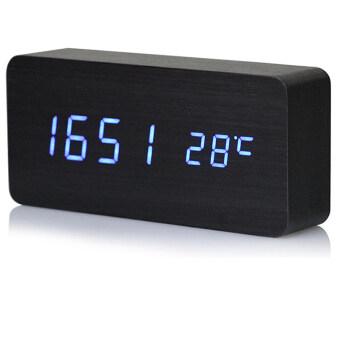 ไม้เทียม led สีน้ำเงินแบบควบคุมแสงเสียงนาฬิกาปลุกรูปสี่เหลี่ยมผืนที่มีการแสดงผลเวลาวันที่อุณหภูมิสีดำ