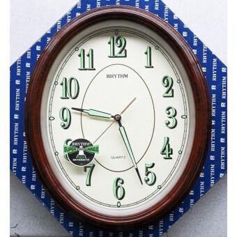 RHYTHM นาฬิกาแขวนผนังรูปไข่ สีน้ำตาล รุ่น CMG712NR06