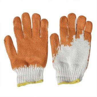 Papamami ถุงมือผ้า เคลือบยาง - สีส้ม (1 โหล)