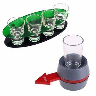 แร็คอะคิลิกใส่แก้วช็อต วงรี 4 แก้ว พร้อม แก้วช็อต 4 ใบ + เกมส์ Spin The Shot