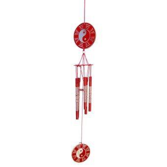 LEE TAI FU โมบายหยินหยาง 5 แท่งฉลุสีแดง