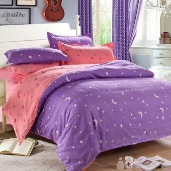 Pillow Land ผ้าปูที่นอน ชุดผ้านวม 6 ฟุต 6 ชิ้น - ดาว 103