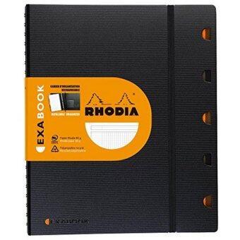 Rhodia - EXABOOK (Black) สมุดออแกไนเซอร์ปกแข็งอย่างดี แบบเส้นกริด 5x5 มม. ขนาด A 4+ 22.5 x 29.7 (สีดำ)