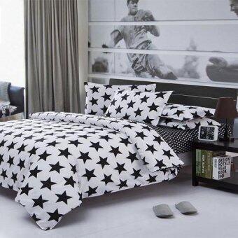 Sweet Kip ชุดผ้าปูที่นอน 6 ฟุต พร้อมผ้านวม 5 ชิ้น ลายดาวขาวดำ