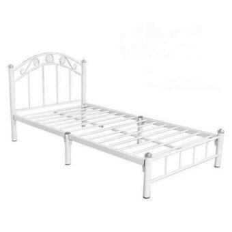 ADHOME เตียงเหล็กคุณภาพ ขนาด 3.5 ฟุต ขา 2 นิ้ว รุ่น Flower สีขาว