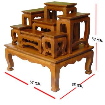 โต๊ะหมู่บูชา หมู่ 7 ขนาดความกว้างแต่ละโต๊ะ 5 นิ้ว (โต๊ะหมู่บูชา 7 หน้า 5)