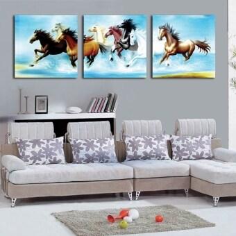 Art Home ภาพชุดเสริมฮวงจุ้ย ภาพม้าแปดตัววิ่งผ่านน้ำ ขนาด 30 x 30 cm (3 ภาพ)