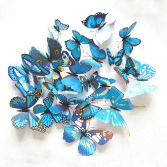 (1 ชุด=24ชิ้น) ศิลปะการออกแบบพีวีซีสี 3D สติ๊กเกอร์ติดผนังแม่เหล็กพลาสติกผีเสื้อ (สีสีน้ำเงิน)