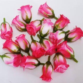 Dokpikul-หัวดอกกุหลาบปลอม ดอกแย้ม ดอกไม้ผ้าประดิษฐ์ ขนาด 5ซม.แพค 100ดอก-สีบานเย็นก้นขาว