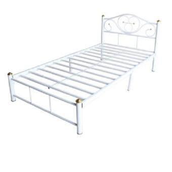ADHOME เตียงเหล็กคุณภาพ ขนาด 3.5 ฟุต ขา 2 นิ้ว รุ่น Lotus สีขาว