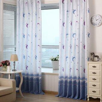 โอม Xmas Decor ห้องนอนห้องนั่งเล่นแสนม่านหน้าต่างโปร่งดวงจันทร์พิมพ์