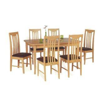 RF Furniture ชุดโต๊ะอาหารไม้ยาง 6 ที่นั่ง สี ธรรมชาติ รุ่น NPT102BE