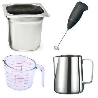 โถเคาะกากกาแฟ + ถ้วยตวงแก้ว 500 มล. + เหยือกตีฟองนม 20 ออนซ์ + ตีฟองนมแบบถ่าน