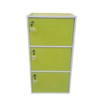 TPL กล่องคัลเลอร์บ็อกไม้อเนกประสงค์ 3ชั้น 3ประตู+กุญแจเปิด-ปิด (สีเขียว)