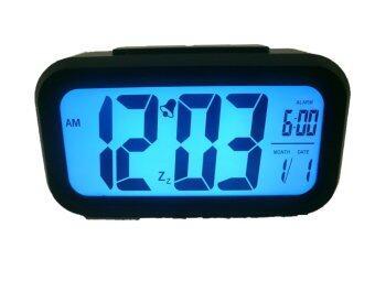 GooAB Shop นาฬิกาปลุก ดิจิตอล ระบบปรับหน้าจอสว่างอัตโนมัติ - สีดำ +ถ่านAAA 3 ก้อน