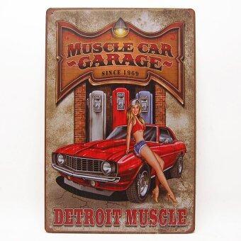 MonkeyAct ป้ายสังกะสีวินเทจ Muscle Car Garage Since 1969