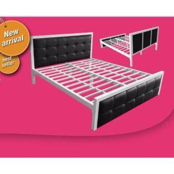 ISO เตียงเหล็กกล่อง หัวเบาะ 3.5 ฟุต รุ่นซินดี้ สีทูโทนขาว/ดำ