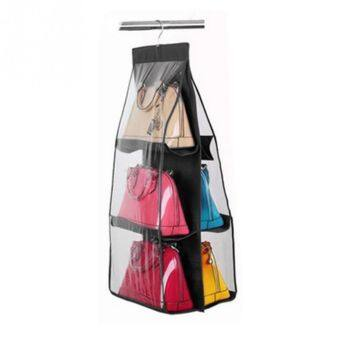 แฟชั่น 6 กระเป๋าถือกระเป๋าเงินกระเป๋าเรียบร้อยแขวนตู้เสื้อผ้าตู้เก็บออแกไนเซอร์สีดำ
