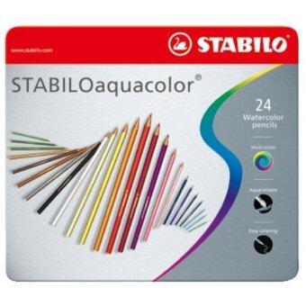 STABILO Aquacolor สีไม้ กล่องเหล็ก ชุด 24 สี