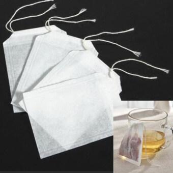 Fancytoy 100ชิ้นล้างถุงกรองซีลกันความร้อนของเชือกกระดาษถุงชาสมุนไพรแก้