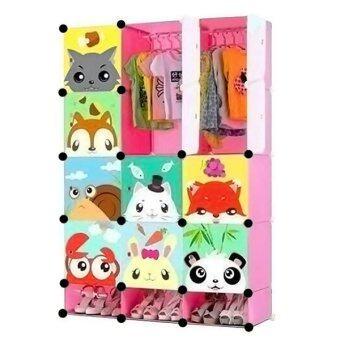 Toyzoner ตู้อเนกประสงค์ DIY Cabinet Lockers Wardorbe 15 ช่อง (สีชมพู)