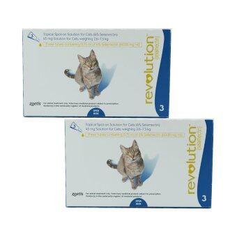 Revolution for cats (2.6-7.5kg) สำหรับแมว น้ำหนัก2.5-7.5กิโลกรัม บรรจุ3หลอด/กล่อง x 2 กล่อง