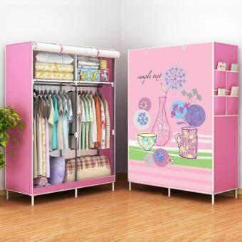 DIY ตู้เสื้อผ้า 2 ช่องผ้าคลุมกันน้ำกันฝุ่น(แขวนได้2ช่อง)