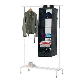 ชั้นแขวน ที่เก็บของอเนกประสงค์ และเสื้อผ้า 6ช่อง พับเก็บได้ สีดำ HomeSmile
