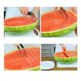 MD ที่ปอกเปลือก คว้าน แกน และหั่นสับปะรด Pineapple Corer Slicer - Siver/Black (แถม Watermelon Slicer มีดตัดหั่นคว้านคีบ แตงโม และผลไม้) (image 4)