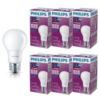 Philips หลอด LED BULB 13 วัตต์ ขั้ว E27 แสงวอร์มไวท์ (6 ดวง)