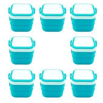DMT ปิ่นโต 2ชั้น กล่องใส่อาหาร ถนอมอาหาร (สีฟ้า) จำนวน 8เถา