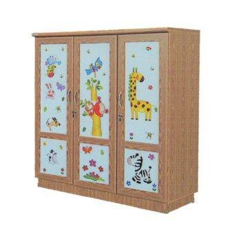 RF Furniture ตู้เสื้อผ้าเด็ก 120 cm 3ประตูทึบ รุ่น WR120M( สีสักลายการ์ตูนน่ารัก )
