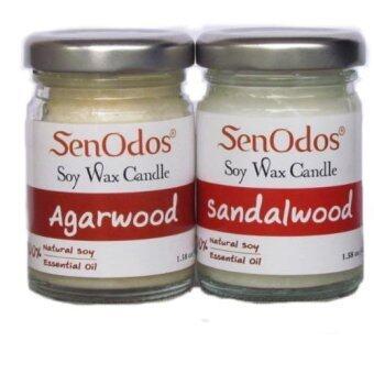 SenOdos เทียนหอมอโรม่า เทียนหอมระเหย กลิ่นไม้หอม Soy Candles Luxurious Woodsy Set 45g x2กลิ่น