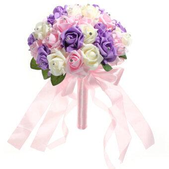 คริสตัลเวดดิ้งคู่บ่าวสาวช่อดอกไม้กุหลาบเพื่อนเจ้าสาวโฟม (งาช้าง+สีชมพู+สีม่วง)