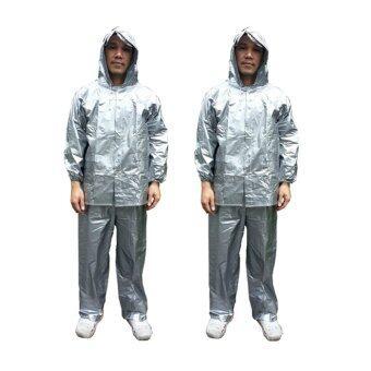 ชุดกันฝน เสื้อกันฝน กางเกงกันฝน ผ้ามุก ขนาดฟรีไซส์ (สีเงิน) x 2