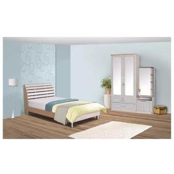 RF Furniture ชุดห้องนอนB302RL 3.5 ฟุต เตียง 3.5 ฟุต + ตู้เสื้อผ้า 90 cm + โต๊ะแป้งยืน 60 cm + ที่นอนสปริง 3.5 ฟุต ( สี โซลิค )