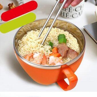 2559 คุณภาพราคาสเตนเลสกล่องอาหารกลางวันสำหรับอาหารปิกนิกอาหารภาชนะรูปทรงกลมแบบพกพาอาหารกล่องกล่อง M (ส้ม)