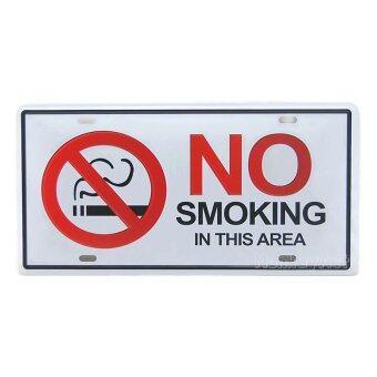 MonkeyAct ป้ายสังกะสีวินเทจ No Smoking in This Area (ปั๊มนูน)