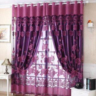250ซม x 100ซมม่านประตูหน้าต่างพิมพ์ลายม่านห้องป่านกั้นผ้าพันคอสีม่วง