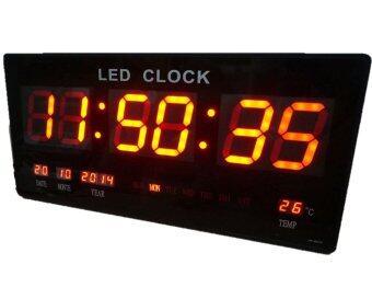 GooAB Shop นาฬิกา LED ติดฝาผนัง แบบบาง ตัวเลข 3 นิ้ว ขนาด 18 นิ้ว ไฟสีแดง