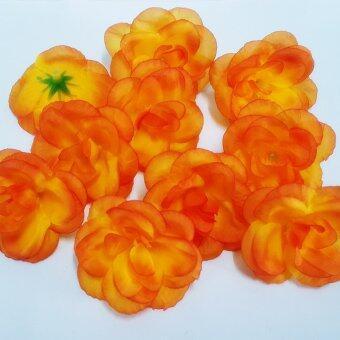 Dokpikul-หัวดอกกุหลาบปลอม ดอกบาน ดอกไม้ผ้าประดิษฐ์ ขนาด 5.5ซม.แพค 100ดอก.-สีส้มไฟ
