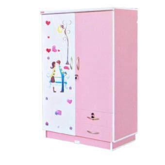 RF Furniture ตู้เสื้อผ้าเด็ก 80cm รุ่น Wk002m-pl/w ( สีชมพูลายการ์ตูนน่ารัก )