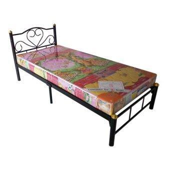 Asia เตียงเหล็ก3ฟุต รุ่นหัวใจ พร้อมที่นอนใยยาง3ฟุต ( สีดำ)