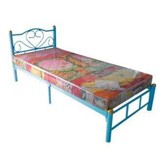 ISO SET เตียงเหล็ก 3.5 ฟุต รุ่นโลตัส สีฟ้า + ที่นอนโฟมเสริมฟองน้ำ 3.5 ฟุต x 6นิ้ว รุ่นLatte