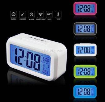 Cassablu นาฬิกาปลุกตั้งโต๊ะ นาฬิกาปลุกเรื่องแสง นาฬิกาปลุก สีขาว (image 1)