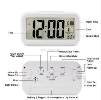 Cassablu นาฬิกาปลุกตั้งโต๊ะ นาฬิกาปลุกเรื่องแสง นาฬิกาปลุก สีขาว (image 4)