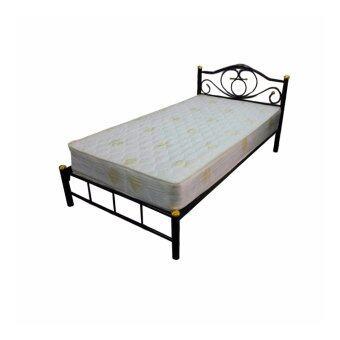 DAXTONเตียงเหล็ก ขา 2 นิ้ว ขนาด 3.5 ฟุต+ที่นอนสปริง รุ่น Bed with mattress 3.5 (สีดำ)