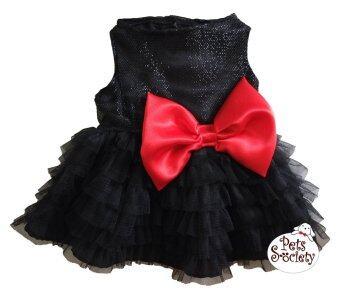 PetSociety เสื้อสุนัข เสื้อแมว ชุดกระโปรงปาร์ตี้สีดำ โบว์แดง